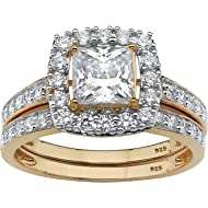 18K Yellow Gold over Sterling... 18K Yellow Gold over Sterling Silver Princess Cut Cubic Zirconia Halo Bridal Ring Set