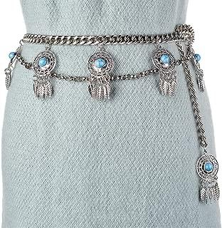 MYCHOMEUU New Retro Style Waist Chain Studded Tassel Waist Chain Wild Skirt Waist Chain Female (Color : Silver, Size : 100-135CM)