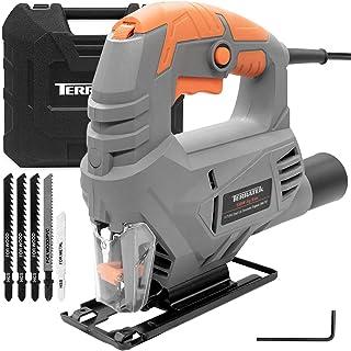 Terratek Electric Jigsaw 550W 3000SPM, 5 Speed Jigsaw Tool, Jigsaw Cutting 65mm Wood, 8mm Metal, Max 45 Cutting Angle, 5 B...