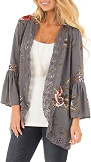 Basic Faith Women's S 3XL Floral Print Kimono Tops Cover Up Cardigans