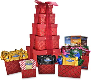 Ghirardelli 5-Tier Tower Holiday Chocolate Gift Set, Red Festive, 35.5 Ounce