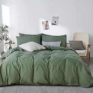 Lanqinglv Dunkelgrün Bettwäsche 220x240cm 100% Baumwolle Uni Unifarben Wendebettwäsche Set Renforce Bettbezug mit Reißverschluss und 2 Kissenbezug 80x80cm