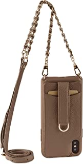 Vaultskin Pecan Brown Victoria Crossbody iPhone Chain & Leather Wallet Case