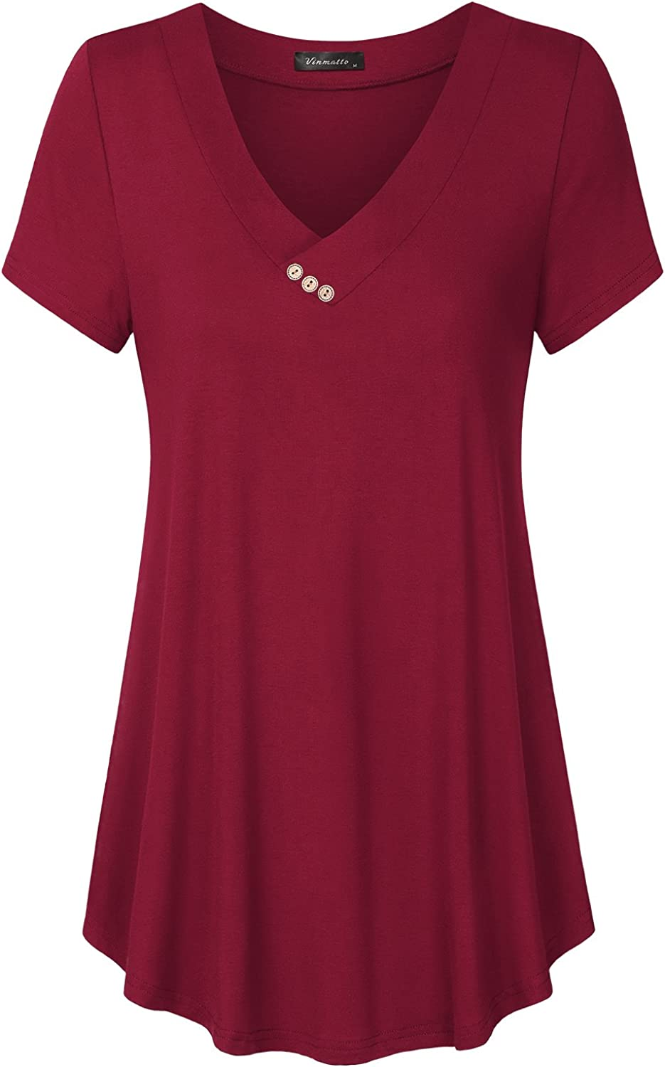 Vinmatto Women's Summer Short Easy-to-use Sleeve V Max 71% OFF Flowy Size Neck Tuni Plus