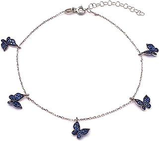 Alwan Silver Long Size Anklet with Butterflies for Women - EE5249BLSDB