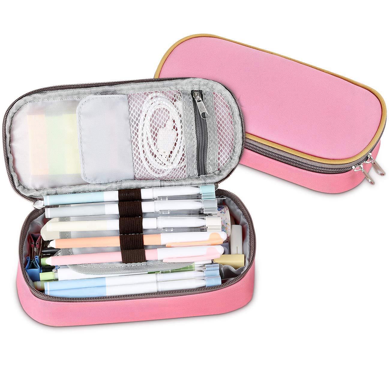 Multifuncional Estuche de lápices estuches escolar Adolescente, Bolsa de Lápiz Portable Lapicero, Estuche Escolar de Gran Capacidad (Rosa): Amazon.es: Oficina y papelería