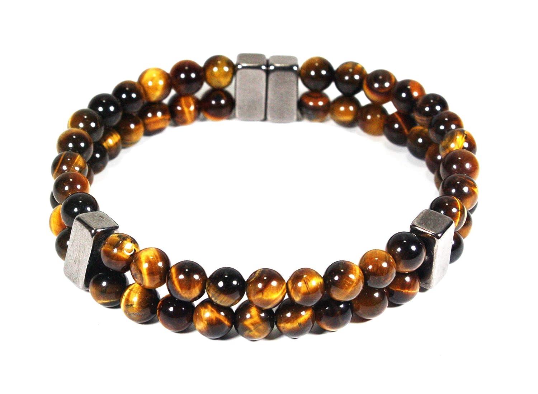 Charlotte Mall 2 Row Tiger Eye Bracelet - Arthritis for Men Women Super-cheap Jewelry -Good