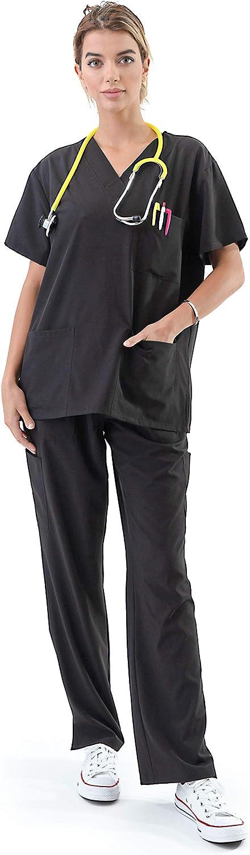 Women's Medical Uniform Scrubs Set – 4 Way Stretch 8 Pocket V-Neck Top with Drawstring Pants Nursing Dental, Black 5X-Plus