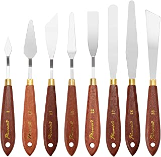 DerBlue Stainless Steel Artists Palette Knife Set,Spatula Palette Knife Painting Mixing Scraper,Thin and Flexible Art Tools for Oil Painting, Acrylic Mixing, Etc. (8pcs-)