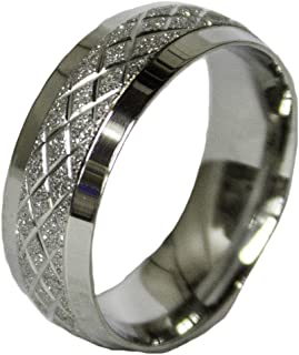 Men's Stainless Steel Dress Ring Criss Cross Band 066