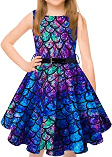 uideazone Girls Vintage Dress Sleeveless 50s Retro Swing Skirt for Cocktail Rockabilly Party Dresses with Belt 6-13 Years