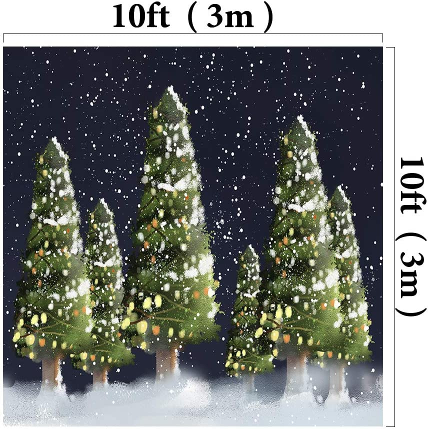 Kate 8x8ft//2.5x2.5m Xmas Winter Backdrops White Snow Tree Photo Shoot Studio Background Props