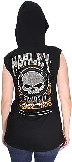 Harley-Davidson Womens Made for Bikers Willie G Skull Hooded Black Sleeveless