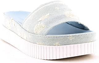 Kendall and Kylie Isla Dot-Distressed Denim Slide Sandals, Light Blue, Size 8.0
