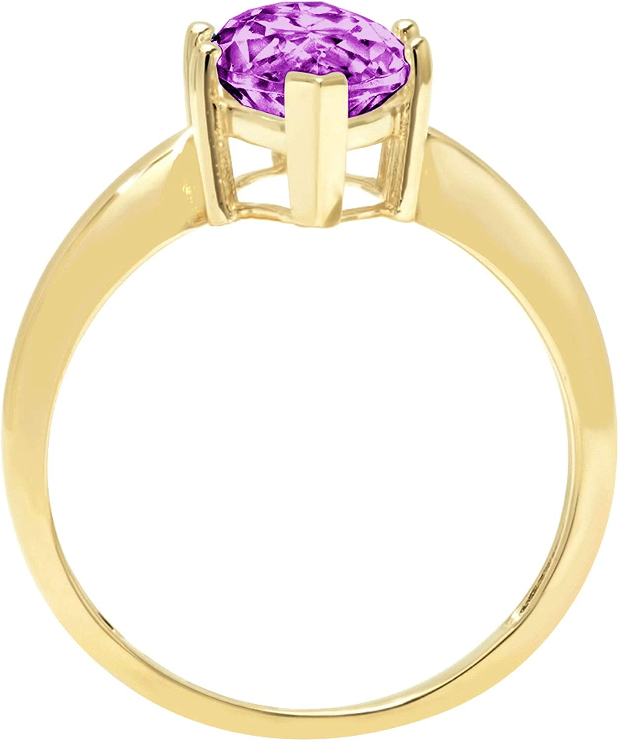 2.45 ct Brilliant Marquise Cut Solitaire Flawless Simulated CZ Purple Alexandrite Ideal VVS1 6-Prong Engagement Wedding Bridal Promise Anniversary Designer Ring Solid 14k Yellow Gold for Women