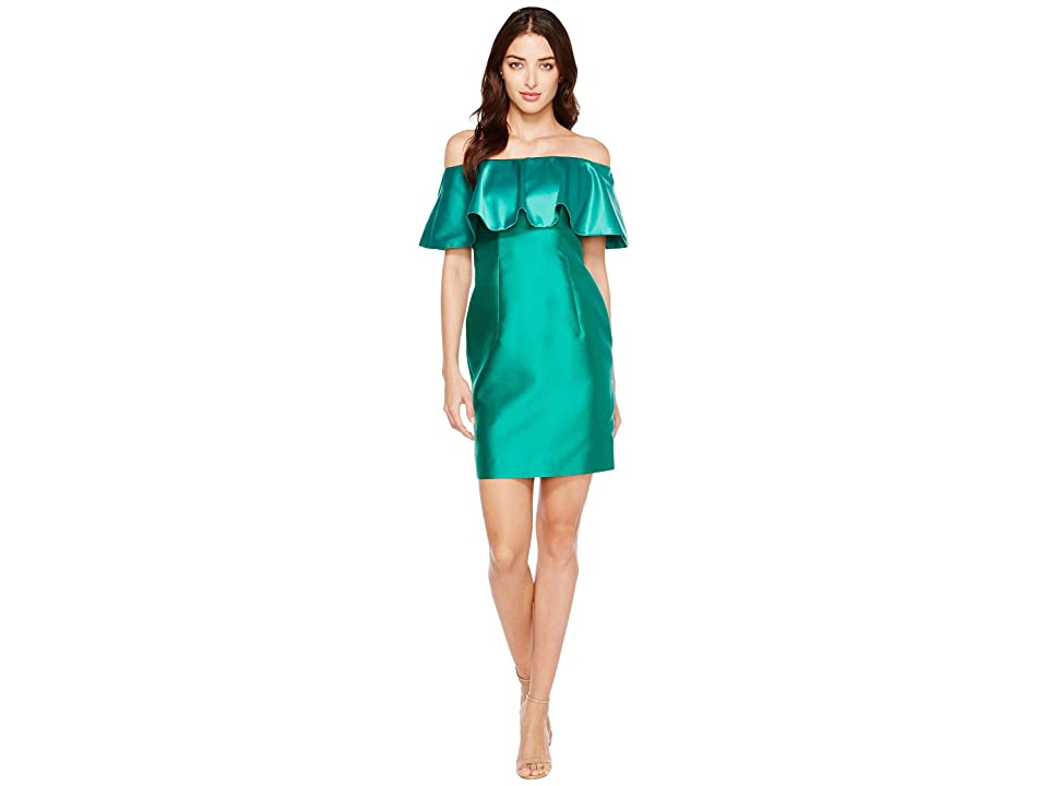 Adrianna Papell Fabric Combo Flounce Dress (Vivid Emerald) Women