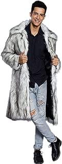 Mens Faux Fur Coat Long Black Jacket Warm Furry Overcoat Outwear