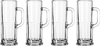 German Style Frankfurt Paneled Mini Beer Stein Mugs Glasses - 4 oz - Set of 4 Mugs