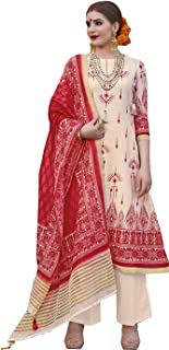 Pleasing Cream & Red Palazzo Style Suit
