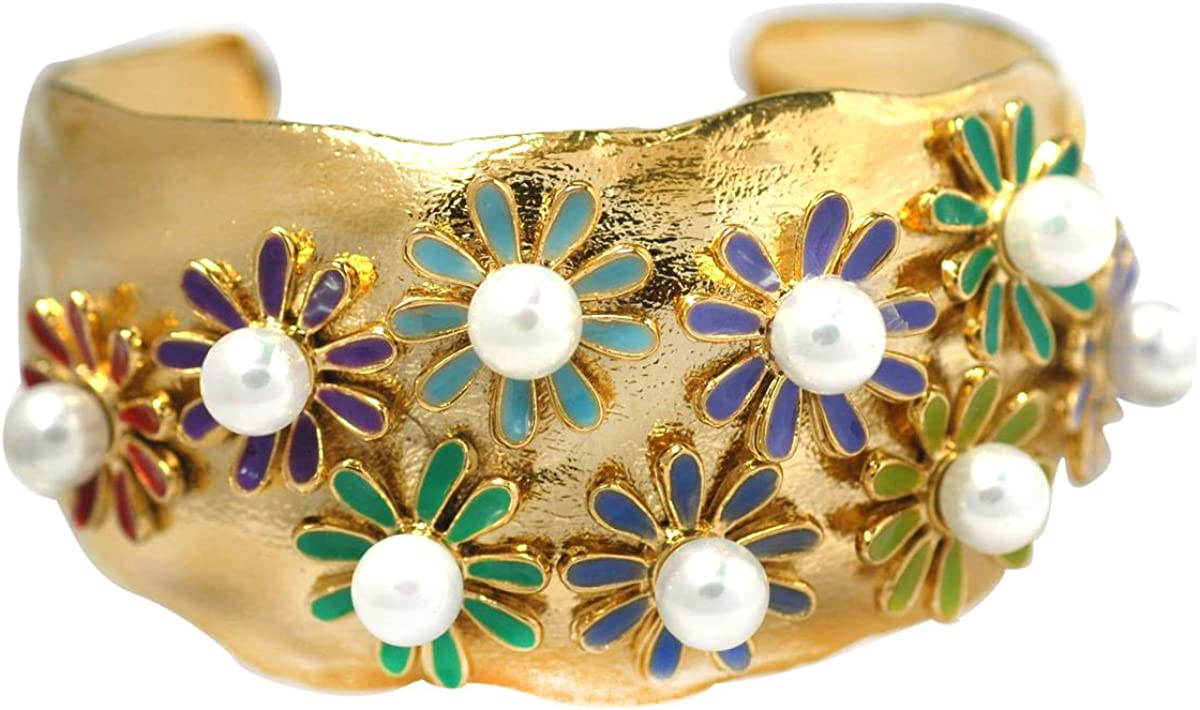 De Buman 14k Goldplated Chinese Freshwater Cultured Pearl and Flowers Enamel Cuff Bracelet
