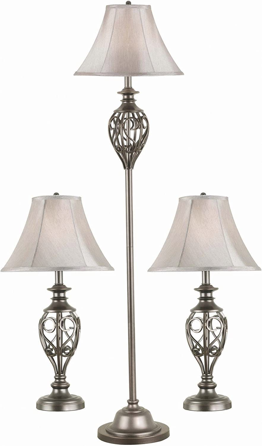 Kenroy Home 80007SIL 3-Pack Lamp Set, 64 Inch Height, 15 Inch Width, Silver