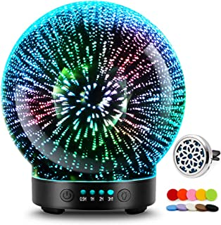 3D Glass Aromatherapy Essential Oil Diffuser – Newest Version fragrance oil Humidifier, 7 LED Color lighting modes firewor...