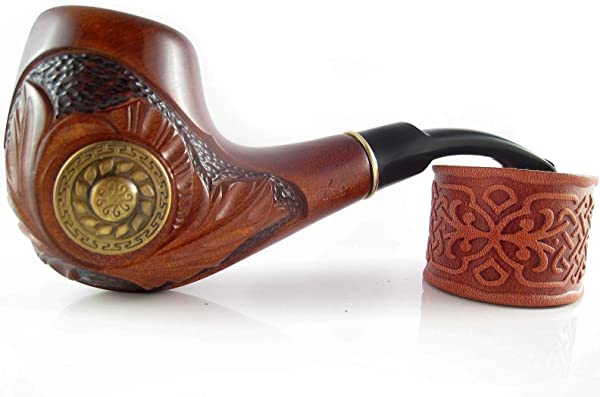 Fashion Decorated Tobacco Pipe VIKING Smoking Pipe Carved Pear Root Wood Designed For Pipe Smokers