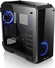 Thermaltake View 71 4-Sided Tempered Glass Vertical GPU Modular SPCC E-ATX Gaming Full Tower Computer Case with 2 Blue LED Riing Fan Pre-installed CA-1I7-00F1WN-00