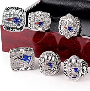 crystal 1st store New England Patriots 6 Years Rings Set, Super Bowl 2019-2001 Championship Replica Rings Size 8-14 (13, Wooden Box)