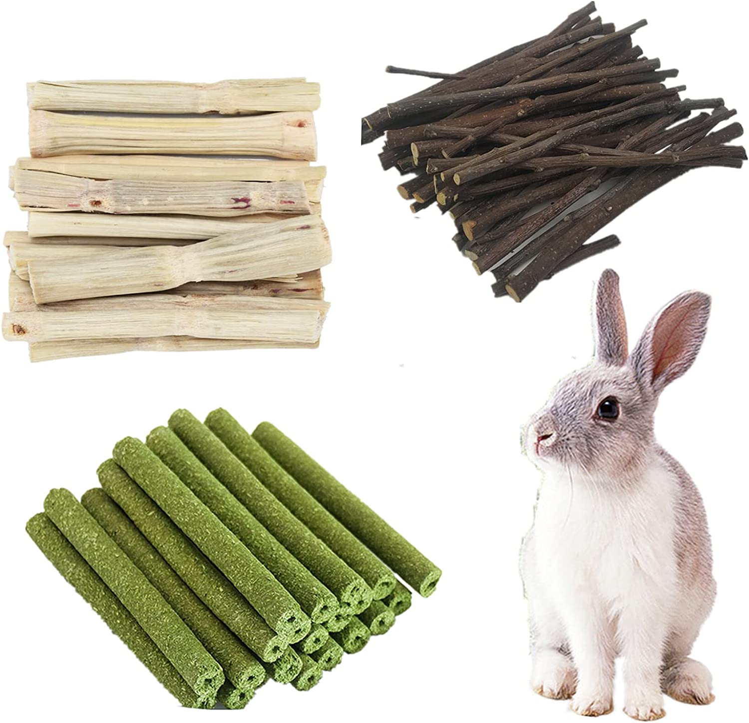 COVS 100% Organic Wood Small Animals Molar Sticks Treats Toys, Natural Apple Sticks Sweet Bamboo Timothy Hay Sticks Keep Small Animals Healthy and Active for Hamster Guinea Pig Chinchillas (100g)