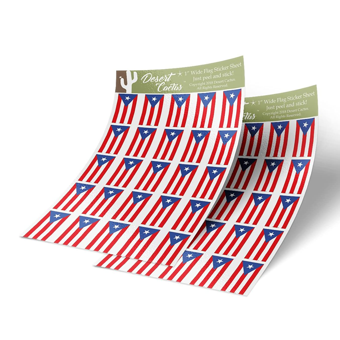 Puerto Rico State Flag Sticker Decal 1 Inch Rectangle Two Sheets 50 Total Pieces Kids Logo Scrapbook Car Vinyl Window Bumper Laptop R