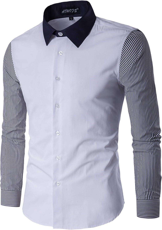 Award Men's Shirt Fashion Plus Size Long-Sle Striped Bargain sale Stitching Classic