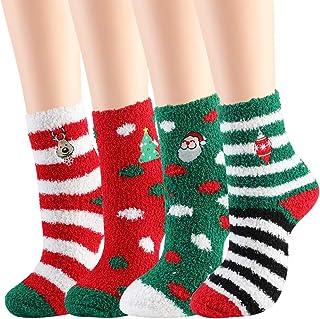 JUSTDOLIFE, Medias Navideñas, 4 PCS Calcetines Suaves Calcetines mixtos de Papá Noel, Mujeres, Niñas, Navidad, Festivo, Divertido Calcetines de lana de Coral, Bonitos Calcetines Navideños