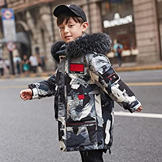 Boys Padded Jacket Winter Coats for Kids Hooded Camouflage Down Jacket Light Warm Breathable Anti-Drilling for Winter Boys