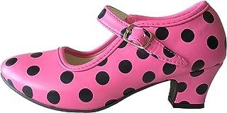 La Senorita Spanische Flamenco Schuhe - hell Rosa Schwarz Größe 30 - Innenmaß 19 cm, pink
