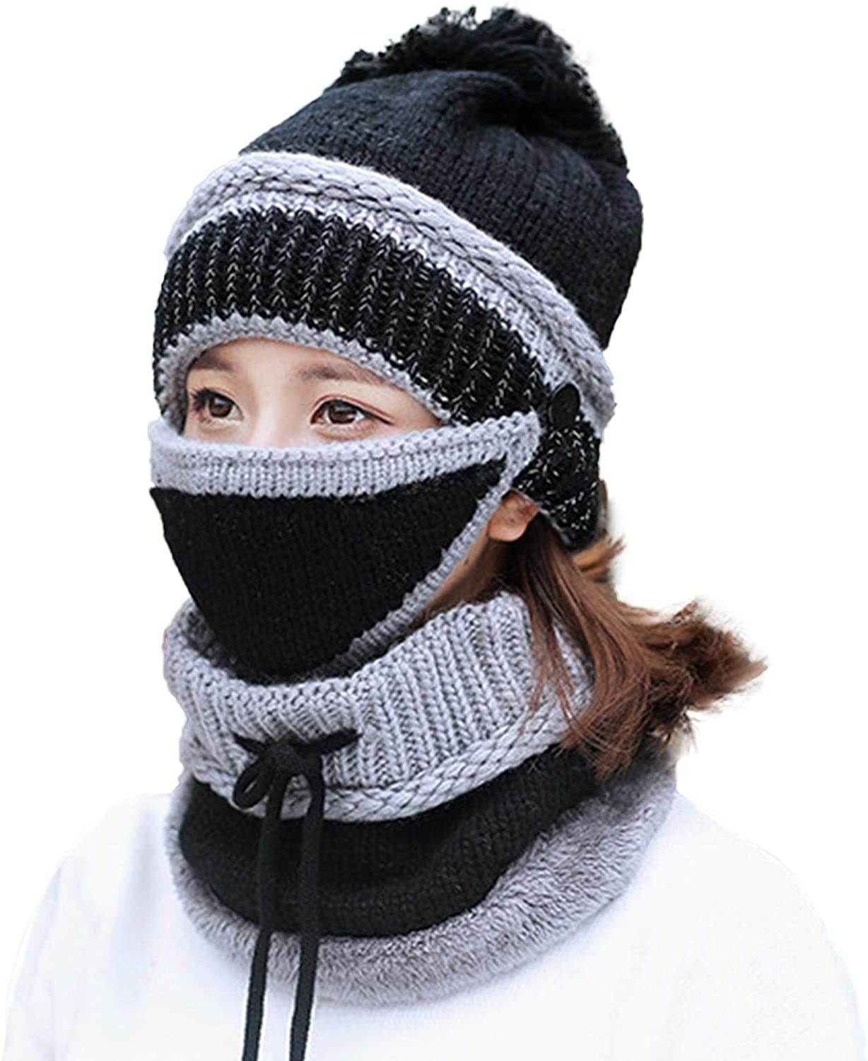 Rivetino Women Scarf Set 3-in-1 Winter Warm Scarf Set Indoor Outdoor Soft Beanie Thick Knitted Woolen Cap hat Scarf for Indoor and Outdoor Sports
