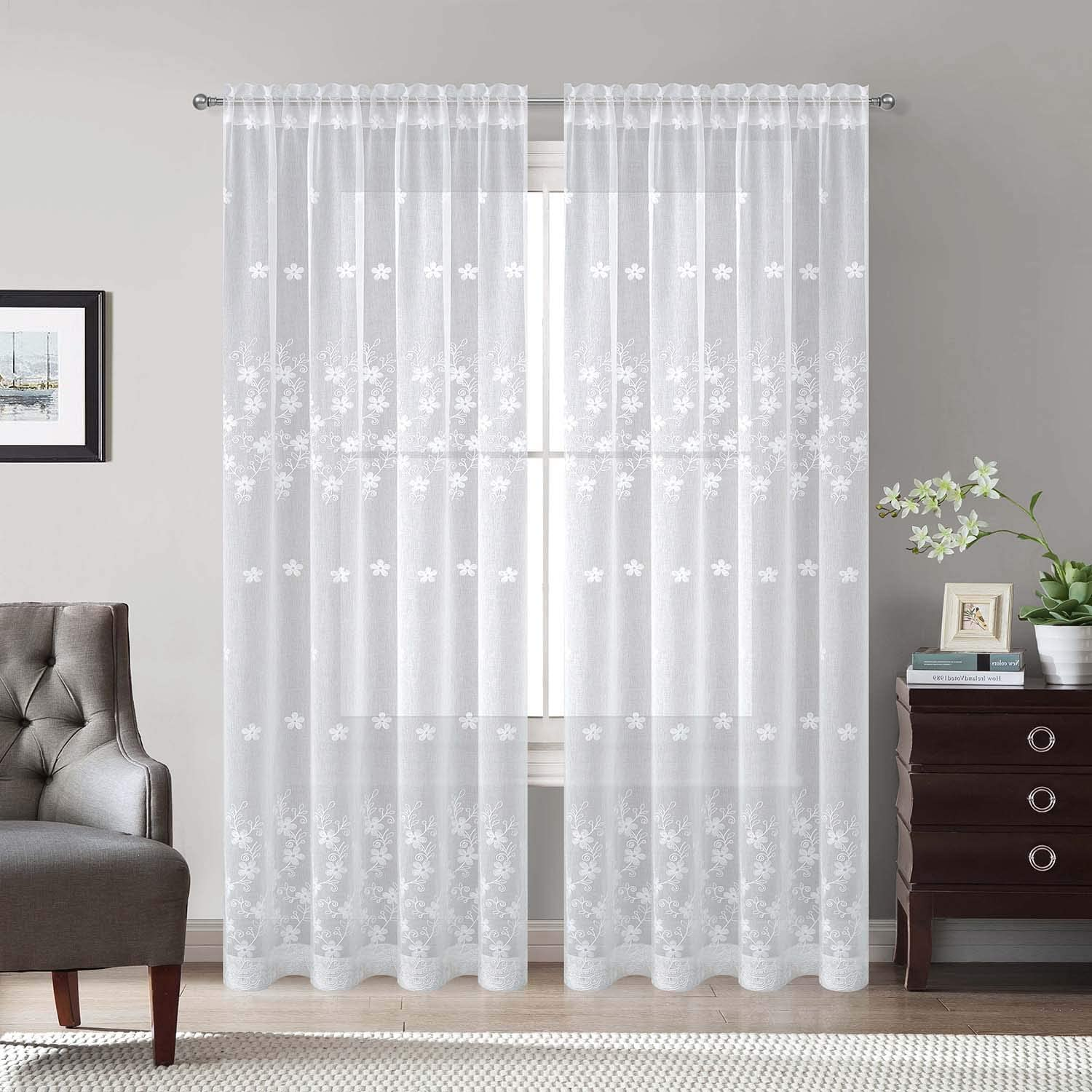 White Rod Pocket Sheer Curtains 106 inches Long, Flowers Embroidered Window Curtain Sheer Voile Panels for Living Room & Bedroom, Set of 2