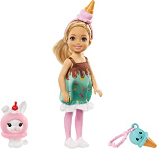 Barbie Club Chelsea Dress-Up Doll, 6-inch Blonde in Ice Cream Costume with Pet Bunny and Accessories, Gift for 3 to 7 Year...