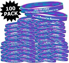 Fight Like a Girl Suicide Prevention Awareness I Wear Teal & Purple for Someone Who Meant The World to Me Wristband Fundraising Kit 100-Pack