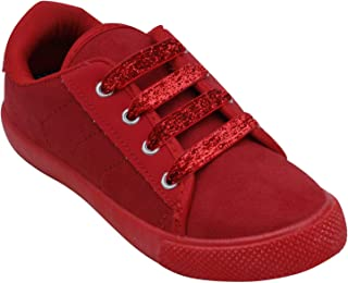 D'chica Shimmery Laces Red Sneakers for Girls
