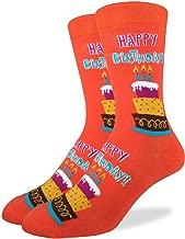 Good Luck Sock Men's Happy Birthday Crew Socks - Orange, Adult Shoe Size 7-12