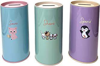 Funtastic Place Piggy Bank for Girls and Boys. Set of 3 Money Coin Banks: Save, Share, Spend to Help Kids Become financial...