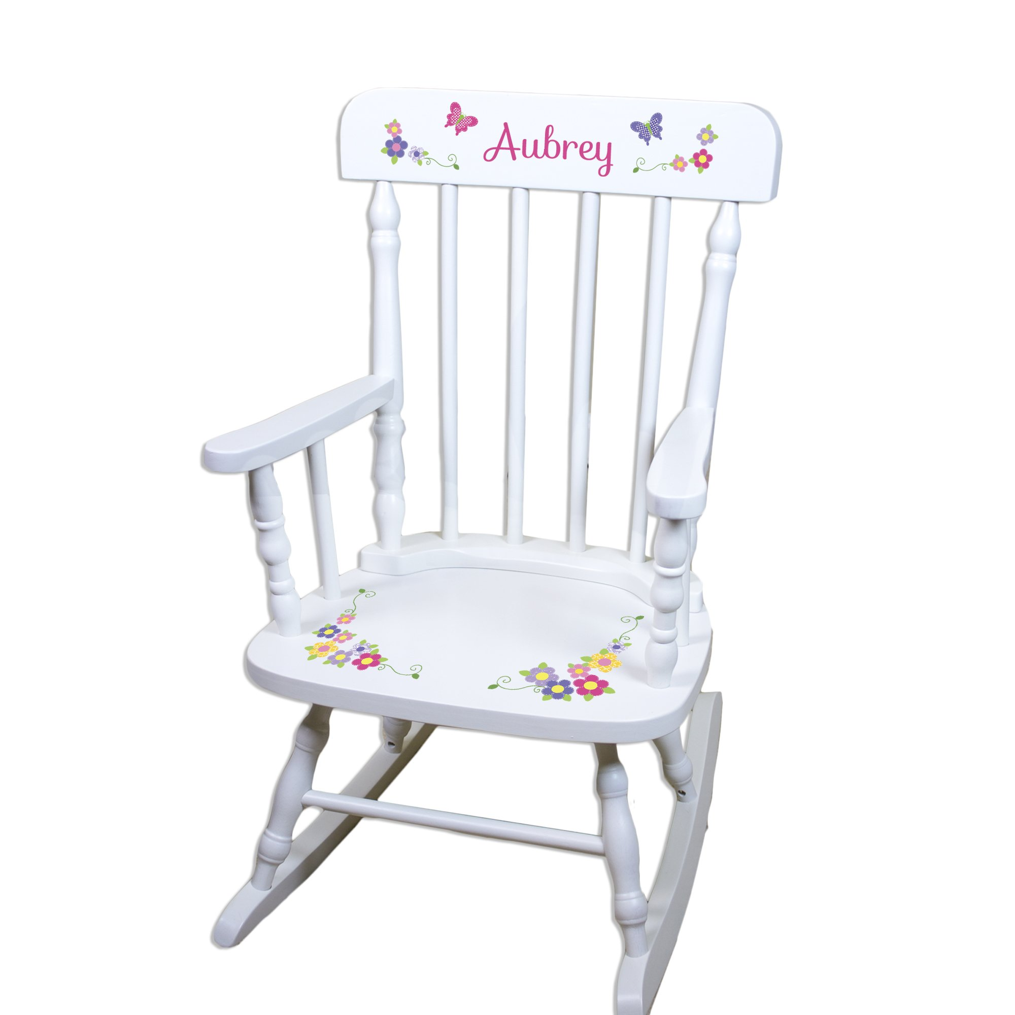 Childrens Personalized Bright Butterfly Rocking