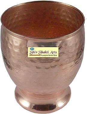 SHIV SHAKTI ARTS Handmade Pure Copper Thali Set of 7 pcs Dinnerware Hotelware ||| 1 Copper thali 3 Bowl 1 Glass 1 Fork 1 Spoo