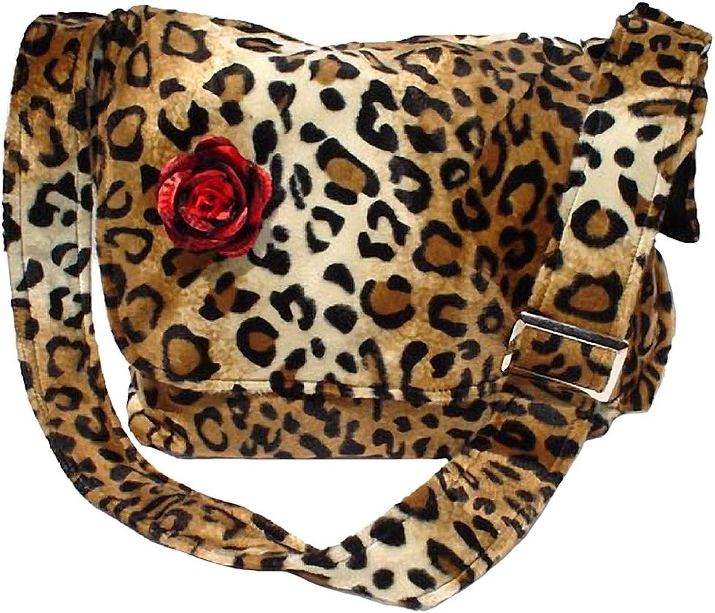 Hemet Rockabilly Faux Leopard Bag with Red Flower