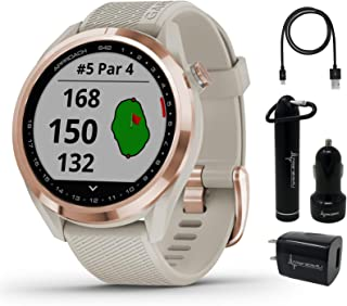 $309 » Garmin Approach S42 Premium GPS Golf Watch, Rose Gold with Light Sand Silicone Band and Wearable4U Power Pack Bundle