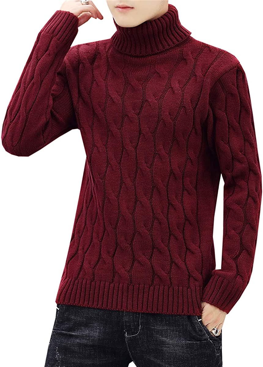 Ranking TOP3 Max 89% OFF QZH.DUAO Men's Cable Sweater Knit Turtleneck