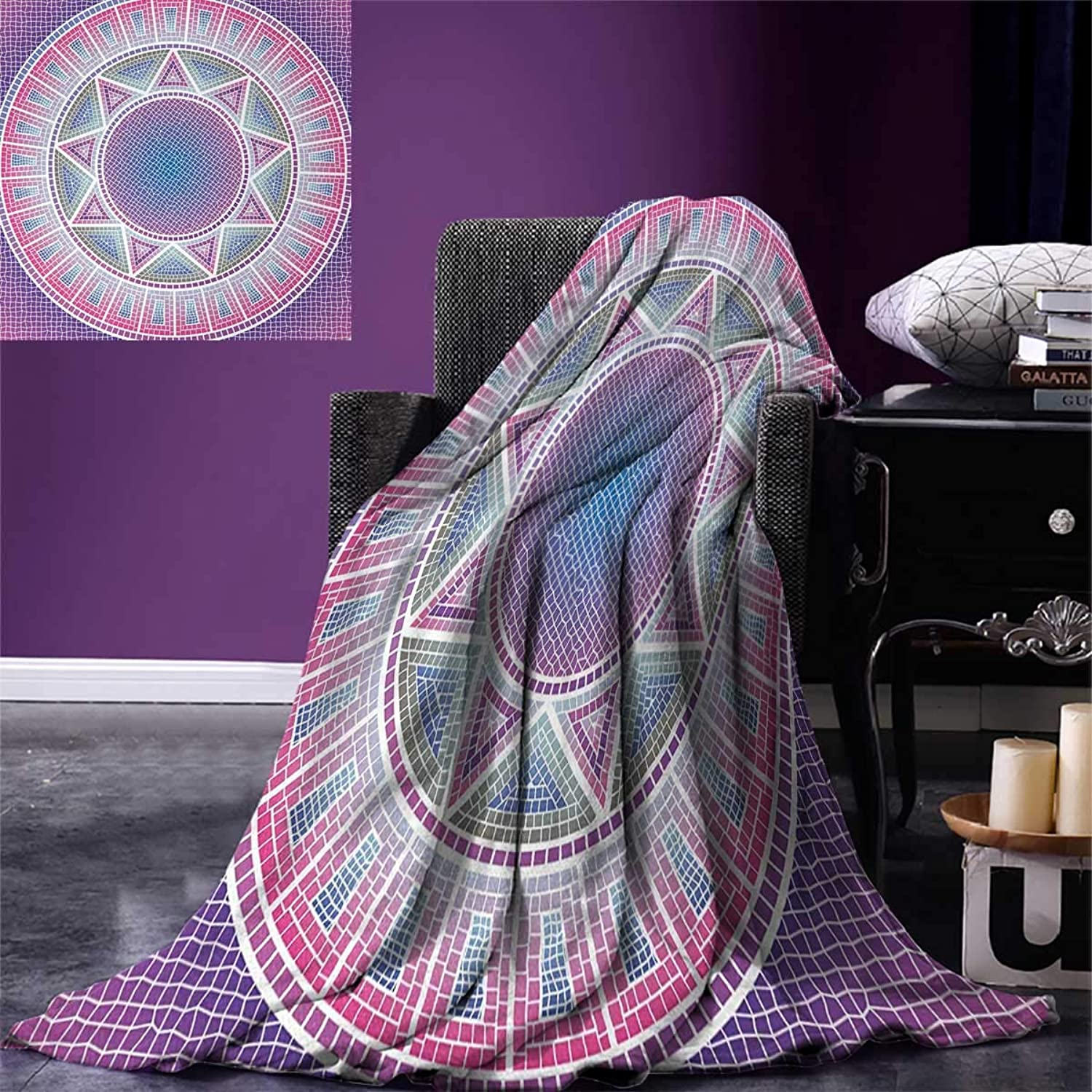 Anniutwo Modern King Flannel Blanket Ombre Inspired Graphic Mosaic Design Round Shaped Sun Like Artwork Weave Pattern Extra Long Blanket 90 x108  Pink Purple bluee White