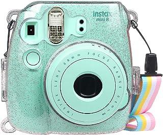 Fintie Funda para Fujifilm Instax Mini 9/Mini 8+/Mini 8 - Bolsa Protectora Transparente de Colores para Cámara Instantánea PVC Duro Cristal con Correa Desmontable Cristal Brillante