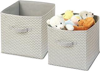 mDesign Organizador de Tela – 2 Cajas para organizar Juguetes– Ideal Caja de Tela para organizar Juguetes, Ropa o Mantas y Mantener la organización de su hogar – Color: Topo/Natural
